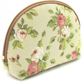 Pochette à zip motif Rose et Verdure en Tapisserie La Boite aux Trésors à Obernai