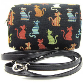 Reißverschlusstasche so Handbag Muster Tapisserie in Farbe in Katzen