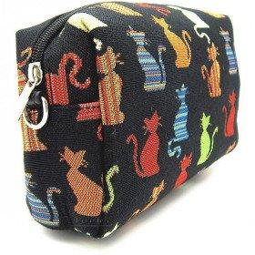 Pochette à zip façon Sac à Main motif Chats en Couleur en Tapisserie à La Boite aux Trésors à Obernai