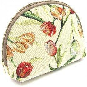 Reißverschlusstasche Muster Tulpen blühen Tapisserie in La Boite aux Trésors in