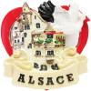 Magnet Décoratif Coeur, Village et Cigogne d'Alsace