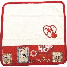 Essuie-Mains de Cuisine carré 100% Coton décor Hansi fond Écru bordure rouge àLa Boite aux Trésors à Obernai