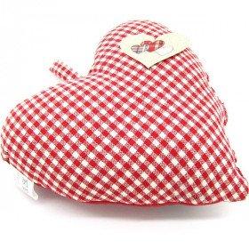 Coeur d'Alsace Rouge rembourré en Tissus brodé Cigognes et Alsace sur fond Vichy La Boite