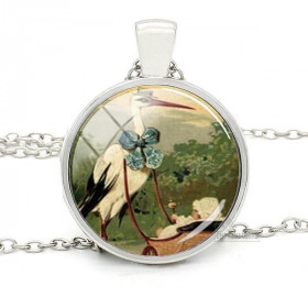 Necklace with Pendant with Curved Glass in Vintage Alsace Stork Bottom