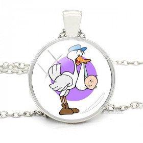 Halsketten-Anhänger mit gebogenem Glas mit Storch und Baby Humorous Elsass