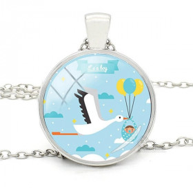 Necklace with pendant with curved glass blue background and stork of Alsace it's a boy