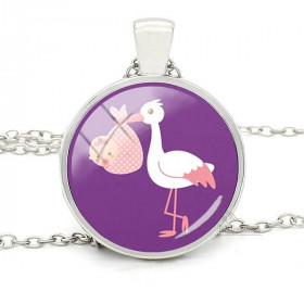 Necklace with Pendant with Curved Glass Purple background and Alsatian Stork