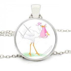 Halsketten-Anhänger mit weißen Gebogene Glasboden und Stork Alsace