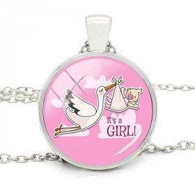 Halsketten-Anhänger mit Hintergrund Gebogenes Glas Rose und Elsass Stork Es ist ein Mädchen