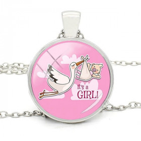 Necklace with Pendant with Curved glass rose background and Alsace Stork It's à Girl