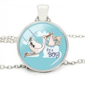 Halskette mit Anhänger und Hintergrund Gebogenes Glas Blau Alsace Stork Es ist ein Junge