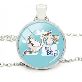 Necklace with Pendant and Curved Glass Blue Background Alsatian Stork It's a Boy