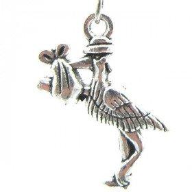 Schmuck Ohrringe Silber Antike Alsace Storch trägt ein Baby- in La Boite aux