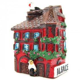 Magnet Décoratif Maison d'Alsace avec Tourelle Rouge