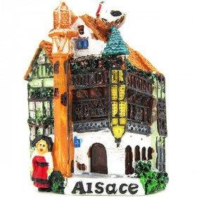Magnet Décoratif Maison d'Alsace en Couleur avec Tourelle