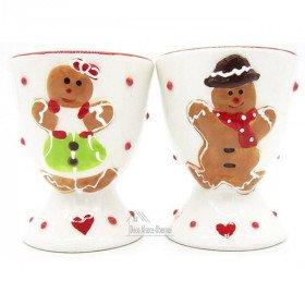 Duo of Maitele and Mannele Ceramic Egg Cups with Alsatian Gingerbread Decor La Boite aux