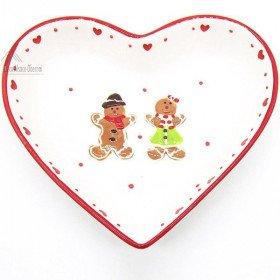 Plat forme de Coeur en Céramique décor Mannele en Pain d'Épices Alsacien La Boite aux