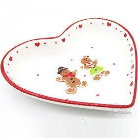 Heart-shaped Ceramic Dish Mannele Decor in Alsatian Gingerbread La Boite aux Trésors to
