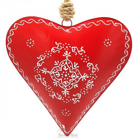 Großes Elsässer Herz 27 cm in rotem Metall handbemalt