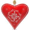 Grand Coeur d'Alsace 27 cm en Métal Rouge peint à la Main