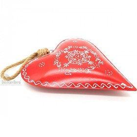 Grand Coeur d'Alsace 27 cm en Métal Rouge peint à la Main La Boite aux Trésors à Obernai