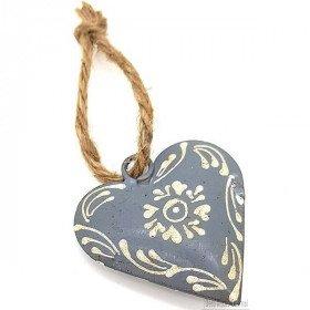 Dekoratives elsässisches Herz in gealtertem grauem Metall handbemalt