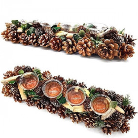 Decorative candle holder 45 cm 4 Verrines with Pine cones