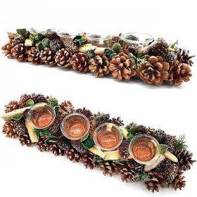 Dekorative Teelicht 45 cm 4 Verrines mit Pine Cone