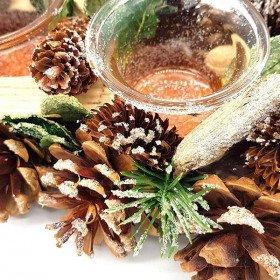 Dekorative Teelicht 45 cm 4 Verrines mit Pine Cone in La Boite aux Trésors in
