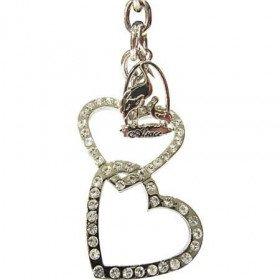 Schlüsselanhänger metall doppel-Herz Elsass mit Strass