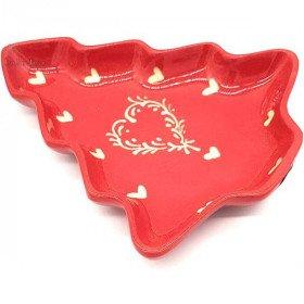 Coupelle forme Sapin de Soufflenheim Rouge décor Coeur Ivoire