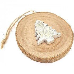 Rondin de Bois Décoratif avec Sapin de Noël en Métal à suspendre