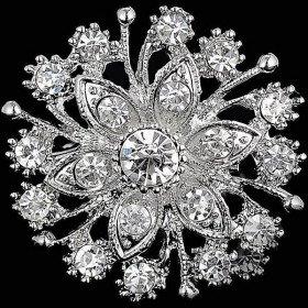 Silver fancy flower shape brooch set with rhinestones