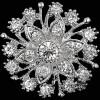 Broche Fantaisie argentée forme Fleurs sertie de Strass