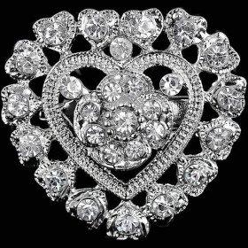 Broche Fantaisie argentée forme de Coeur sertie de Strass
