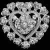 Fancy Silber Brosche geformt gekräuseltes Herz Strass