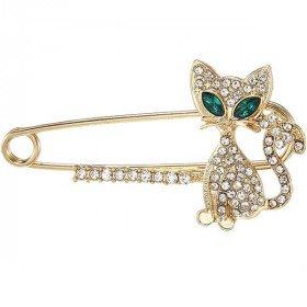 Fancy golden safety pin brooch cat shape green eyes set with rhinestones