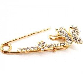 Golden Fancy Safety Pin Brooch Butterfly shape set with Rhinestones