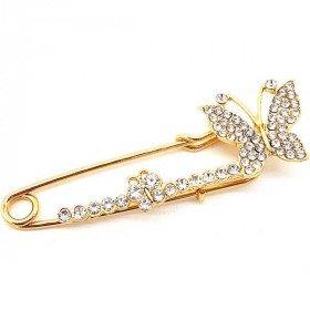 Broche Épingle à Nourrice Fantaisie dorée forme Papillon sertie de Strass La Boite aux