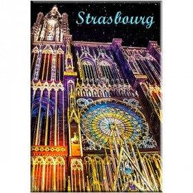 Magnet Décoratif Cathédrale de Strasbourg illuminée àLa Boite aux Trésors à Obernai