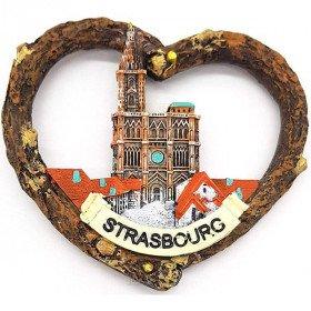 Magnet Décoratif Coeur Écorce Munster Cathédrale de Strasbourg La Boite aux Trésors à