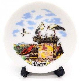 Sammlungsplatte aus Porzellan Dekoration Elsass und Unterstützung