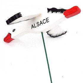 Tige à Fleur avec Cigogne d'Alsace articulée en Bois