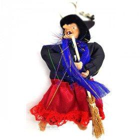Porte Clé Sorcière d'Alsace avec balai et chiffon rouge noir 15 cm
