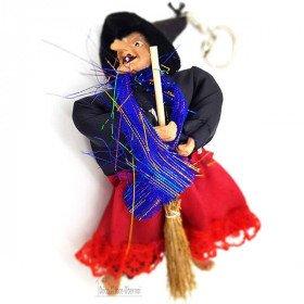 Keychain Hexe Elsass mit Besen und schwarzem roten Tuch 15cm in La Boite aux