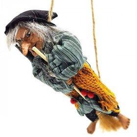 Elsässische Hexe zum Aufhängen mit Stechpalme, Ockerjute und gestreiftem Stoff