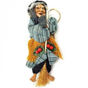 Elsässische Hexe zum Aufhängen mit Stechpalme, Ockerjute und gestreiftem Stoff 20 cm