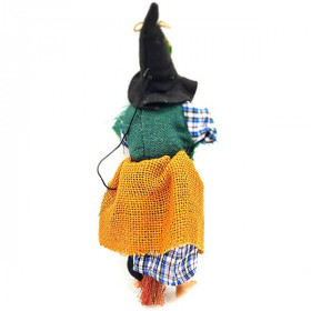Witch of Alsace to hang with ocher jute, scarf and holly 32 cm La Boite aux Trésors to