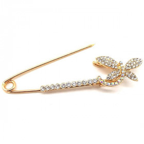 Large Gold Fancy Safety Pin Butterfly Head Brooch set with Rhinestones