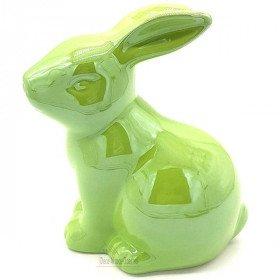 Grand Lapin décoratif assis en Céramique brillante Vert Anis La Boite aux Trésors à